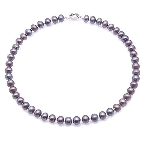 JYX Juego de collar de perlas Collar de perlas cultivadas de agua dulce teñidas de 9