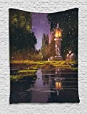 Landscape Tapestry by Ambesonne, Idyllic Scenery at Night with a Stone Lantern Fireflies and Forest Trees Swamp, Wall Hanging for Bedroom Living Room Dorm, 40 W x 60 L Inches, Multicolor