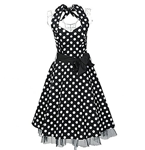 Kleid ärmellos Sonnenblume Rockabilly Ball Damen kurz Vintage 50s Party aF64q