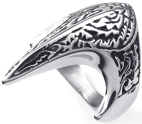 [Aomily Jewelry, Mens Finger Rings Stainless Steel Silver Black Fire Bird Size 13] (King Triton Costume For Kids)