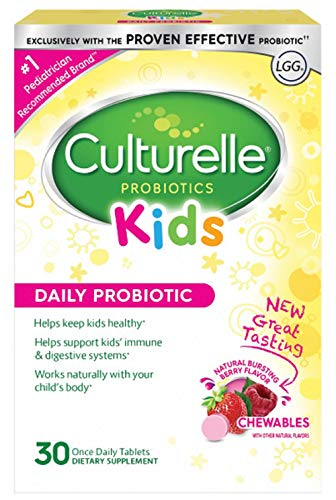 - Culturelle Kids Chewables Daily Probiotic Formula, One Per Day Dietary Supplement, Contains 100% Naturally Sourced Lactobacillus GG -The Most Clinically Studied Probiotic†, 30 Count(Package may vary)