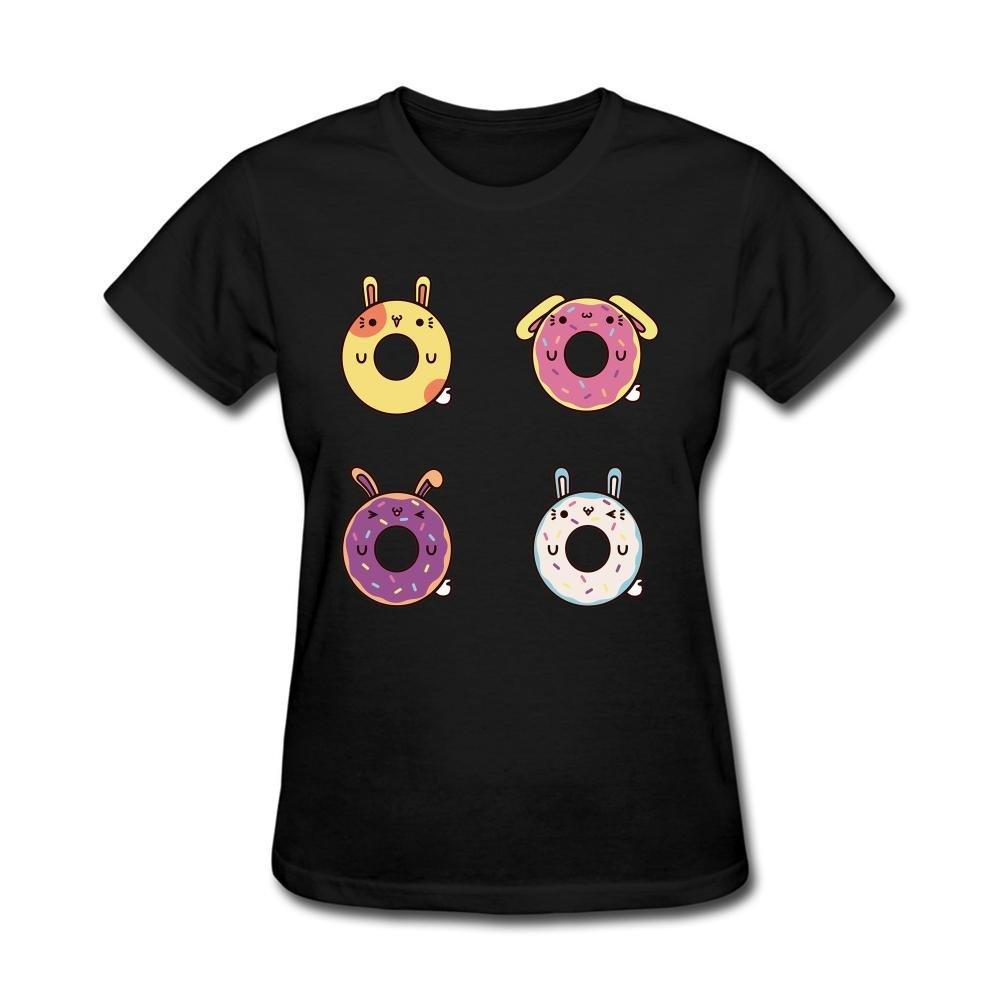XingL Women's Donut Hamster Doughnuts Bunny Design Short Sleeve T Shirt