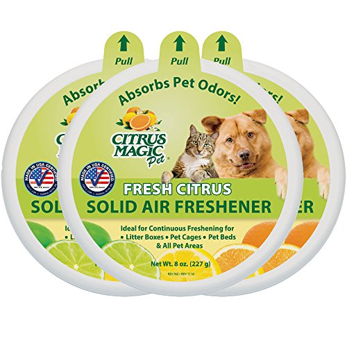 Citrus Magic Pet Odor Absorbing Solid Air Freshener Fresh Citrus, Pack of 3, 8-Ounces Each (Room Magic Natural)