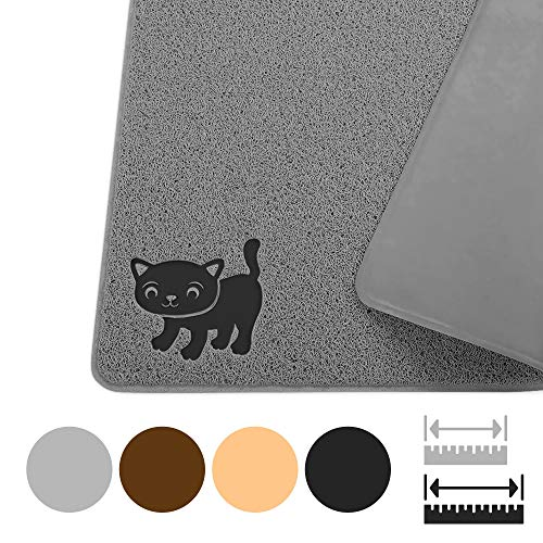 """Smiling Paws Pets Premium Jumbo Cat Litter Mat, XL 47″ x 33"""", Water Resistant, Effectively Traps Scattered Litter from Cats and Litter Box, Easy to Clean, Soft on Kitty Paws"""