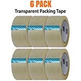 Packing Tape Clear Commercial Grade Heavy Duty 2 inches x 66 Yards (50mm x 60m) 3 mil (75 Micron) Packaging Tape 6 Roll Pack