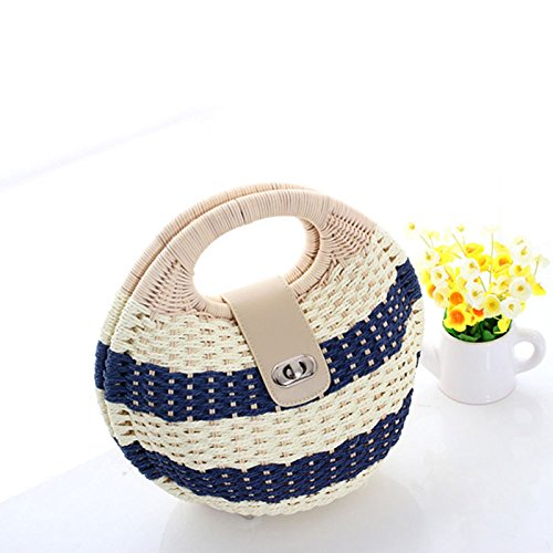 Bag Bag Sweet Bag Weaving Handbag Beauty Leisure Straw Blue Rattan Summer Blue GAOQQ Rural Beach Style Bag wznfgxXfq
