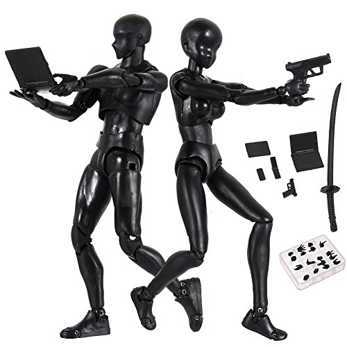 Tulas Action Figure Drawing Models, 2 Pcs Human Drawing Mannequin Body Kun Doll Body-Chan Male/Female Action Figure DX Set with Accessories Kit, Suitable for Sketching, Painting, Drawing, Artist.