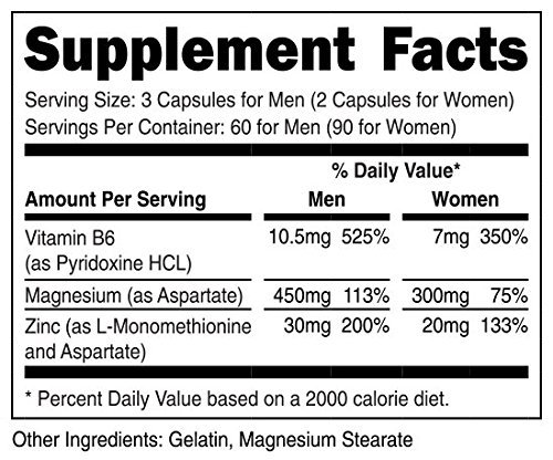 VitaDirect ZMA Supplement – Zinc Magnesium Aspartate – For Men and Women – 90 Capsules, 490mg per Serving
