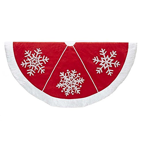Kurt Adler Red with Snowflake and Pom Pom Lace Tree Skirt (Tree Lace)