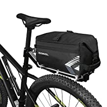 WOTOW Bike Rear Seat Bag, 6L Massive Capacity Bike Rear Seat Bag Bicycle Cycling Pannier Rear Rack Trunk Bag with Shoulder Strap Two Pocket for Outdoor Traveling Hunting Commuting