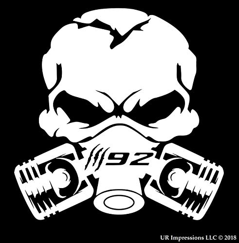 UR Impressions MWht Claw Marks 392 Piston Gas Mask Skull Decal Vinyl Sticker Graphics for Cars Trucks SUV Vans Walls Windows Laptop|Matte White|5.5 Inch|UR688-MW ()