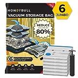 HONEYBULL Jumbo Vacuum Storage Bags [6 Pack] with Hand Pump