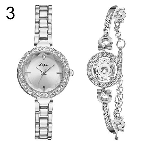 lightclub 2Pcs/Set Women Shiny Rhinestone Round Dial Analog Quartz Watch Bangle Bracelet - 3# Watch for Women Men