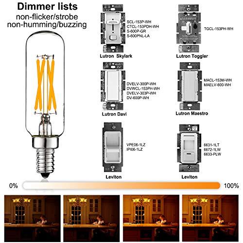LiteHistory E12 LED Bulb Dimmable 6W Equal 60 watt Light Bulb Warm White 2700K T6 T25 E12 Candelabra Bulb 60 watt for Chandeliers,Ceiling Fan,Pendant,Wall scones AC120V 600LM e12 Light Bulb 6Pack