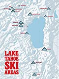 Lake Tahoe Ski Resorts Map 18x24 Poster (White & Red)