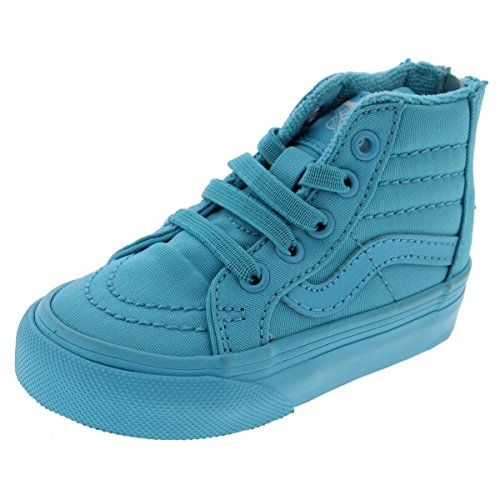 Vans SK8-Hi Zip High-Top Faux Laces Fashion Sneakers Blue 4 Medium (B,M) Toddler