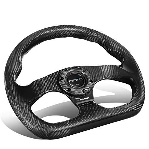 (NRG Innovations ST-009CF/MB Matte Black Carbon Fiber Steering Wheel (320mm Flat Bottom))