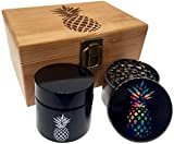 "cool airtight jar - Rainbow Pineapple Stash Box Combo - 2.5"" Full Size Titanium 4 Part Herb Grinder - UV Glass stash jar - Engraved Wood Bamboo Box - Smell Proof and Airtight (Pineapple)"