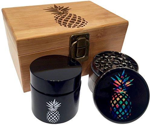 """Rainbow Pineapple Stash Box Combo - 2.5"""" Full Size Titanium 4 Part Herb Grinder - UV Glass stash jar - Engraved Wood Bamboo Box - Smell Proof and Airtight (Pineapple)"""
