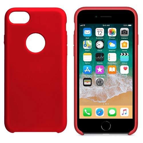 iPhone 7, Rojo CABLEPELADO Funda Silicona iPhone Agujero Logo Textura Suave