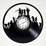 """Cheap The Walking Dead Handmade Vinyl Record Wall Clock – Get unique garage or living room wall decor – Gift ideas for teens, friends, boys ??"""" Zombie Unique Art Design"""