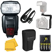 Canon 600EX-RT Speedlite Flash Accessory Bundle Kit + Flash Bracket + AA Battery Charger + TTL Cord + Flash Diffuser + Microfiber Cleaning Cloth for Canon EOS Rebel T6i, T6s, SL1
