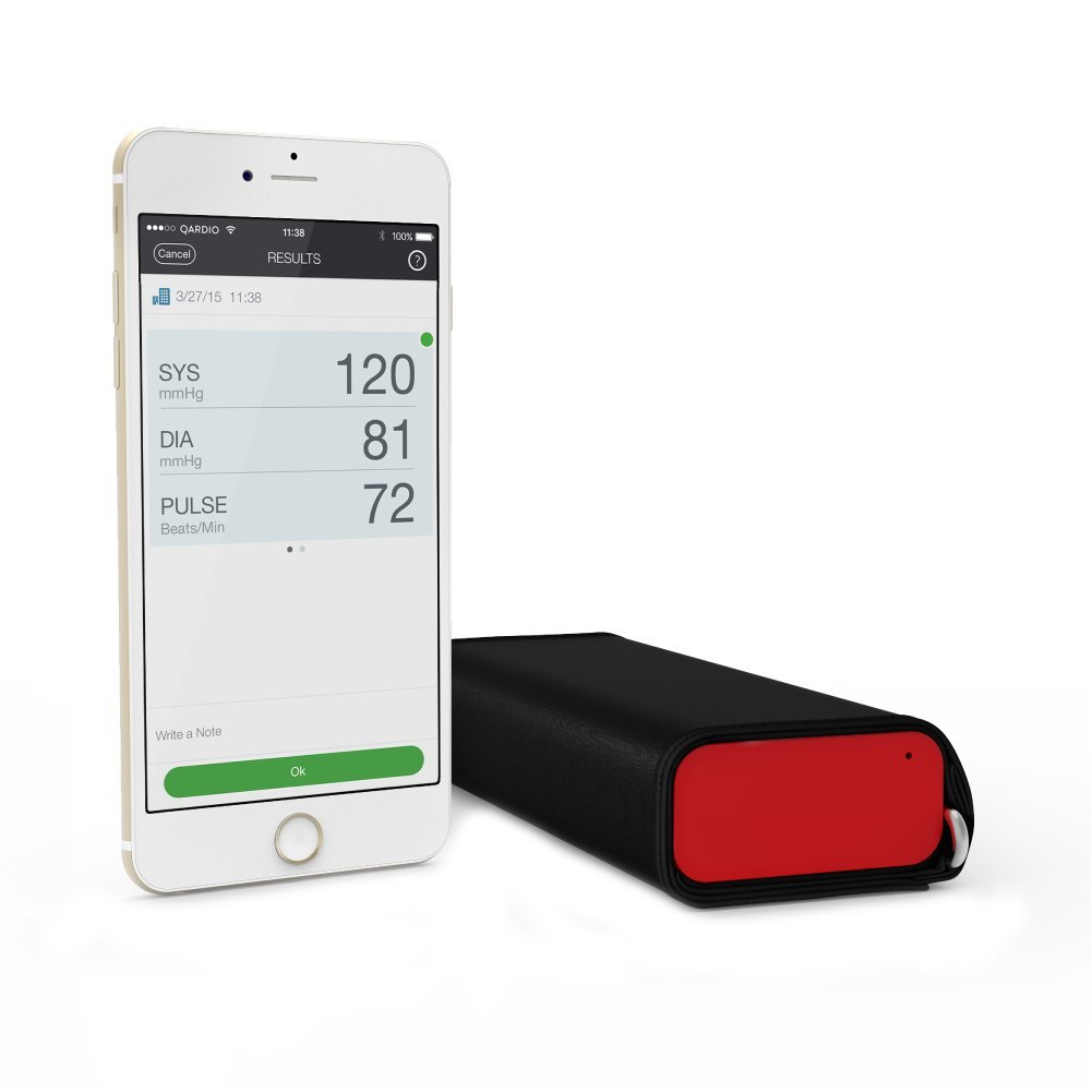 QardioArm Wireless Blood Pressure Monitor: Compact & Portable Digital Upper Arm Cuff - Bluetooth Compatible for Apple & Android Devices, Lightning Red