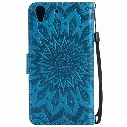 Yiizy Huawei Y6 II / Huawei Honor Holly 3 Custodia Cover, Sole Petali Design Sottile Flip Portafoglio PU Pelle Cuoio Copertura Shell Case Slot Schede Cavalletto Stile Libro Bumper Protettivo Borsa (Bl