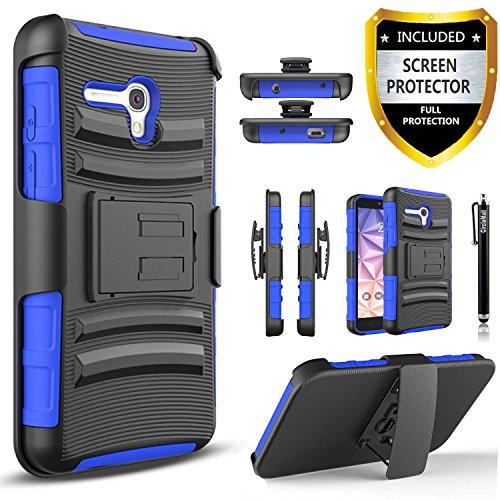 Alcatel OneTouch Fierce XL Case, Combo Rugged Shell Cover Holster with Built-in Kickstand and Holster Locking Belt Clip + Circle(TM) Stylus Touch Screen Pen And Screen Protector - ()