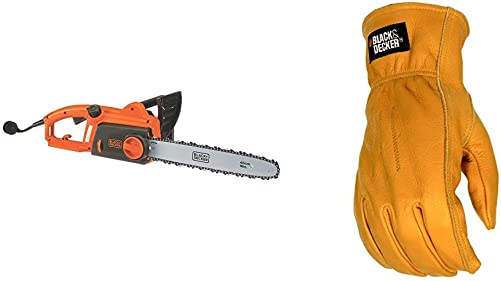 BLACK DECKER Electric Chainsaw, 16-Inch, 12-Amp with Leather Work Glove CS1216 BD555L