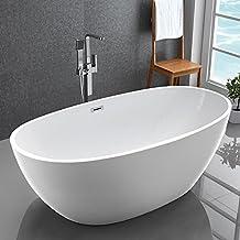 "KIVA RHYME 59"" Freestanding Bathtub, 100% Pure Acrylic Soaking Bath Tub for Bathroom, cUPC Certified, High Glossy White, Model HS-EGG PLUS MINI"