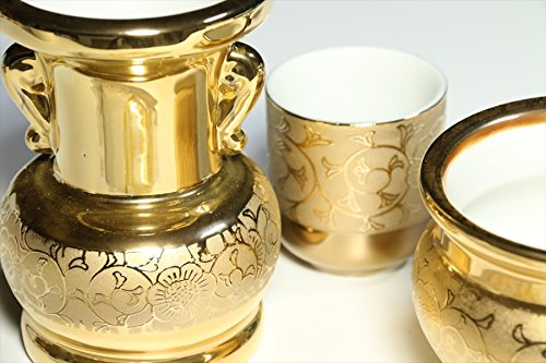 Yamako Buddhist Altar Fittings Ceramic Six Piece Set Gold Color by Yamako (Image #3)