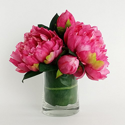 RG Style Artificial Silk Peony Floral Arrangements in Decorative Vase (Arrangement Floral Peony)