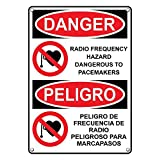 Weatherproof Plastic Vertical OSHA Danger Radio Frequency Hazard Dangerous Pacemaker Sign with English & Spanish Text and Symbol