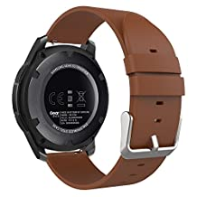 Gear S3 Watch Band, MoKo Premium Soft Genuine Leather Replacement Strap for Samsung Gear S3 Frontier / S3 Classic / Moto 360 2nd Gen 46mm / Garmin vívomove Smart Watch, BROWN (NOT FIT S2 & Fit2)