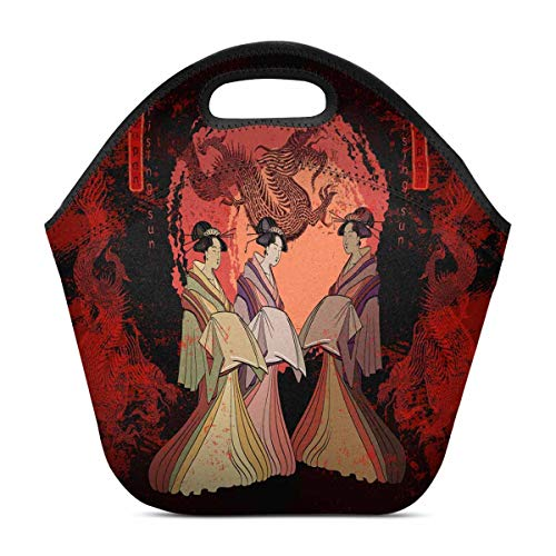 InterestPrint Neoprene Lunch Bag Traditional Japanese Culture Dragons and Geisha Woman Insulated Lunchbox Tote Bag ()