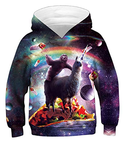 (PIZOFF Unicorn Alpaca Hoodie for Girls 3D Print Graphic Pullover Hoodie Sweatshirts Pocket for)