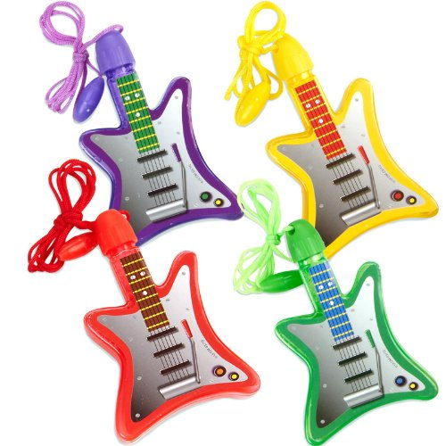 Guitar-Shaped Bubble Necklace Party Favors, (Rock Star Theme Party Costume Ideas)