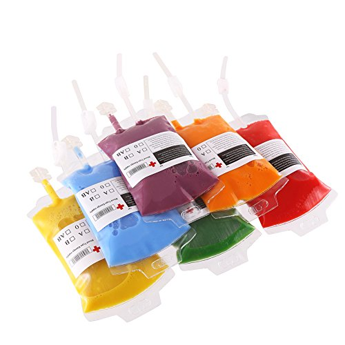 DECORA 24 Pack Plastic Bag Drink Container 10.2 OZ Halloween Party Cups with 3.4 OZ Syringe for Theme Crazy Halloween Party ()