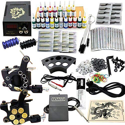 Tattoo Kit Professionl for Beginners Case Liner and Shader Tattoo Machines Power Supply, 50 Tattoo Needles with 20 Color…
