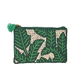 Palm Print Beaded Mini Card Purse