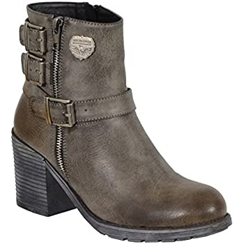 8c54aec5473a Milwaukee Performance Women s Triple Buckle Side Zip Boots with Platform  Heel (Stone Grey