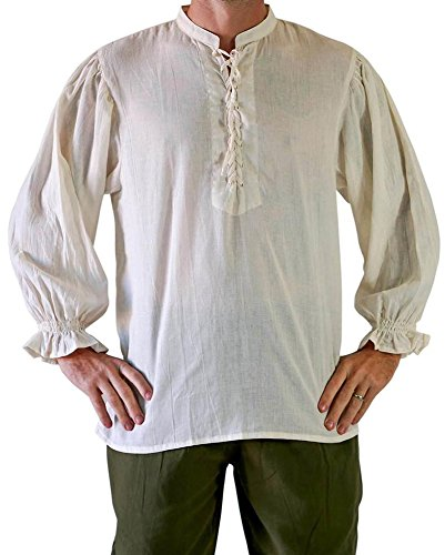 (Mens Medieval Pirate Costume Viking Renaissance Shirt Lace up Halloween Mercenary Scottish Jacobite Ghillie Mandarin Collar)