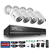 SANNCE AHD/TVI/CVI/CVBS/IP 5-in-1 1080N 8CH CCTV DVR Recorder with 4*720P Weatherproof Indoor/Outdoor Night Vision Cameras Video Security System (No HDD)