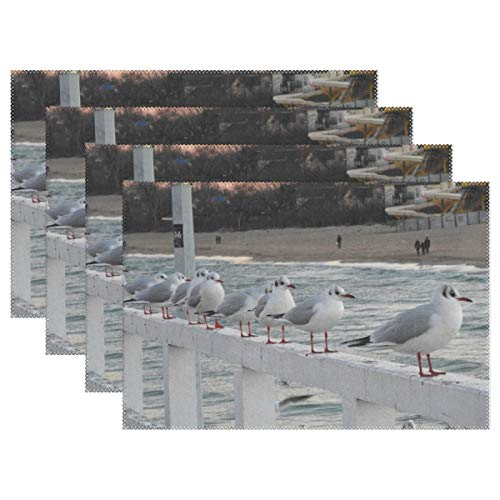 (RH Studio Plate Pad Bridge Rail Sea Gulls Heat-Resistant Table Placemats Set of 4 Stain Resistant Table Mats Washable Eat Mat Home Dinner Decorative)