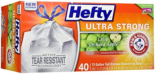 Hefty Ultra Strong Tall Kitchen Drawstring Trash Bag, Crisp Apple Orchard, 40 Count ()