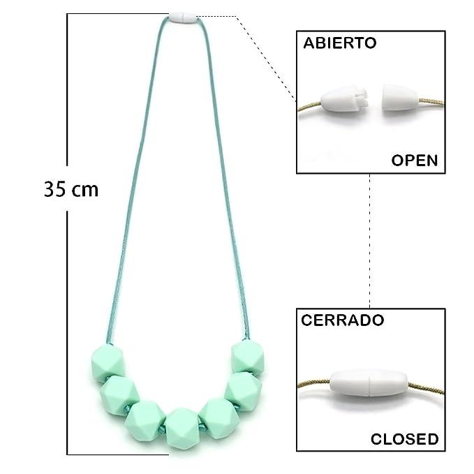 RUBY - Collar Lactancia Mordedor Hexagonal Silicona para Bebés (Verde)