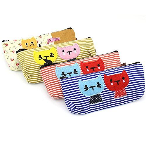 Zicome 4 Pack Canvas Cat Pen Pencil Case Coin Purse Pouch Cosmetic Makeup Bag -