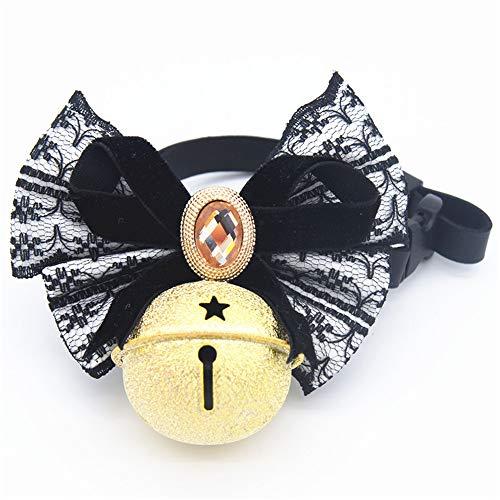 Benala Lovely Lace Bow Tie Pet Collar Dog Cat Adjustable Necklace Decor Gift Black,XL