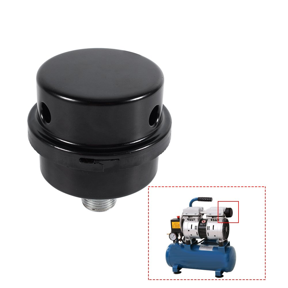 Compresor de Aire de Metal Filtro de admisi/ón Silenciador Silenciador Rosca 3//816MM Negro